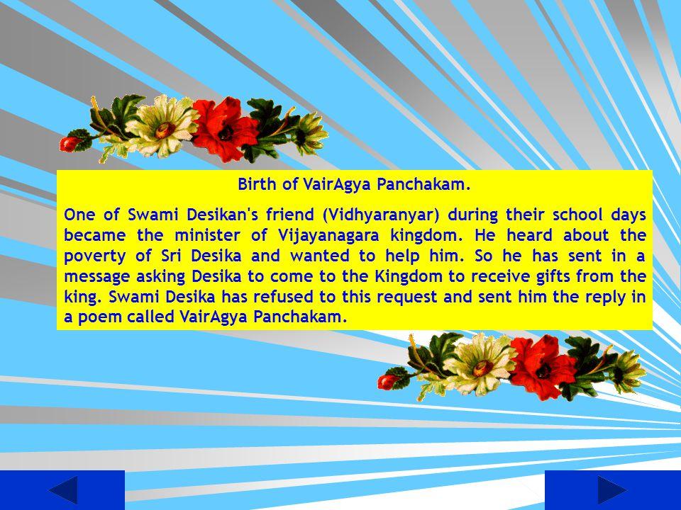 Birth of VairAgya Panchakam.