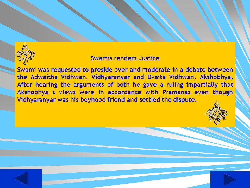 Swamis renders Justice