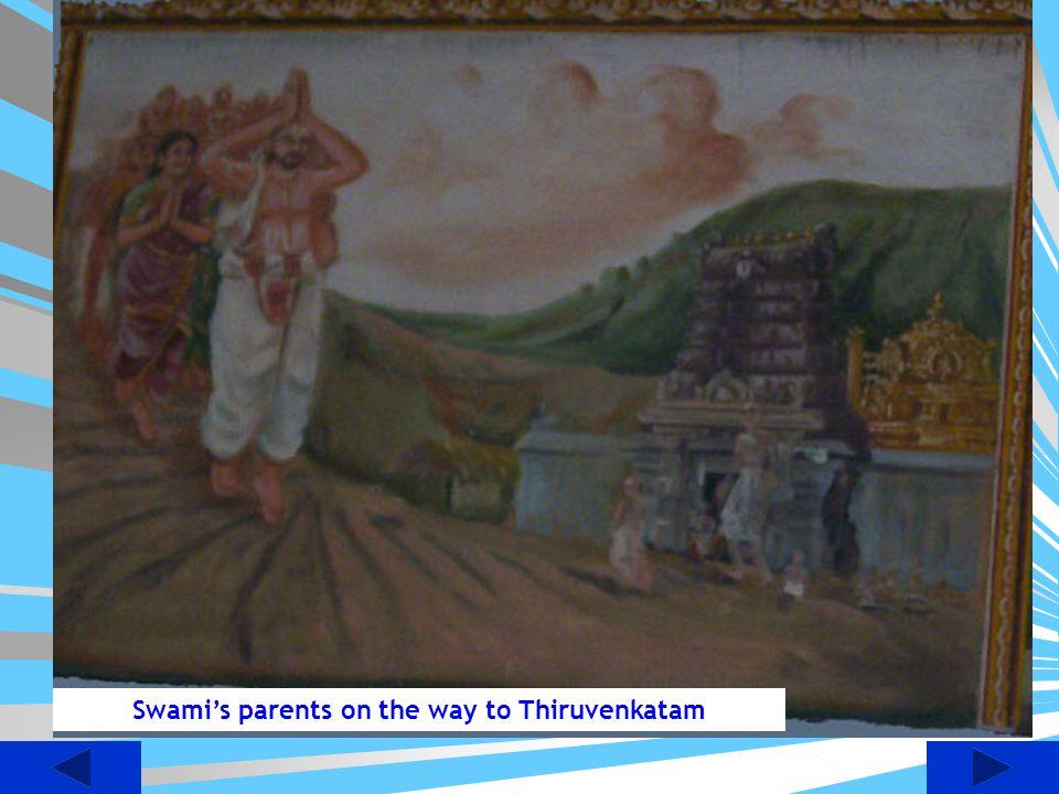 Swami's parents on the way to Thiruvenkatam