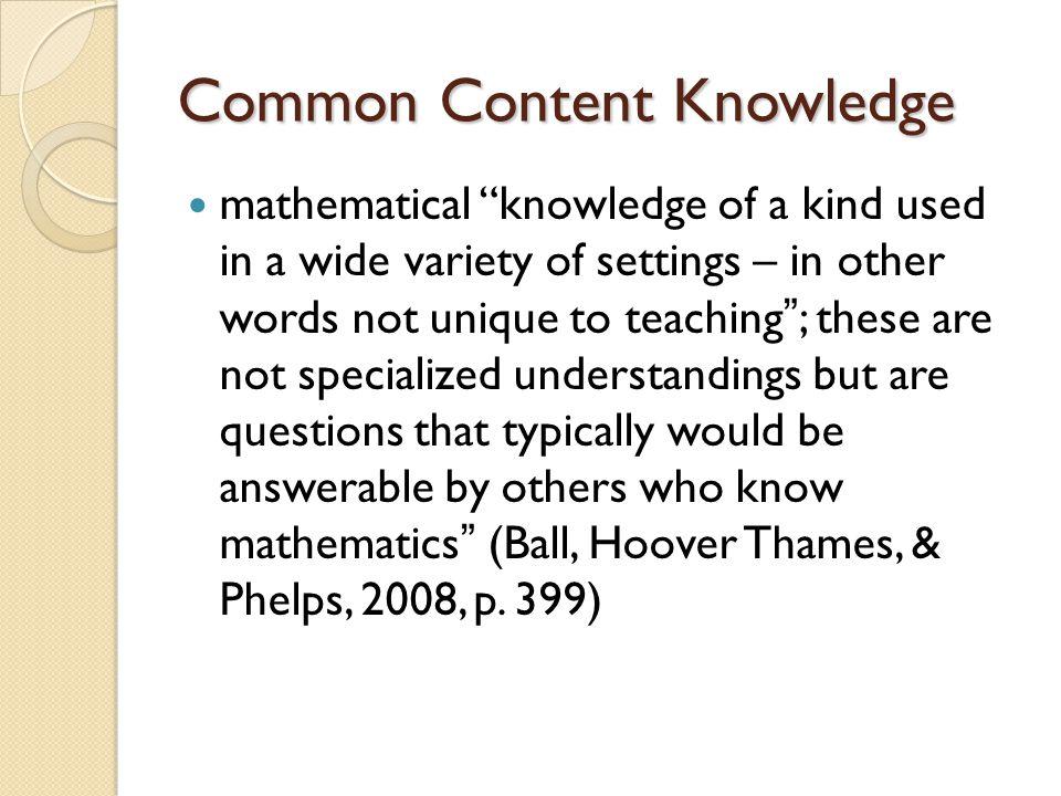 Common Content Knowledge