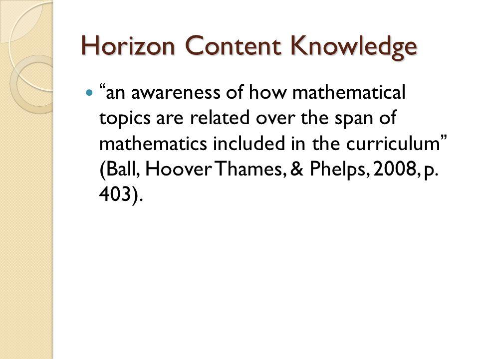 Horizon Content Knowledge