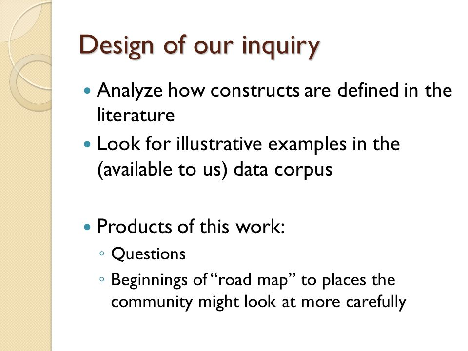 Design of our inquiry Analyze how constructs are defined in the literature. Look for illustrative examples in the (available to us) data corpus.
