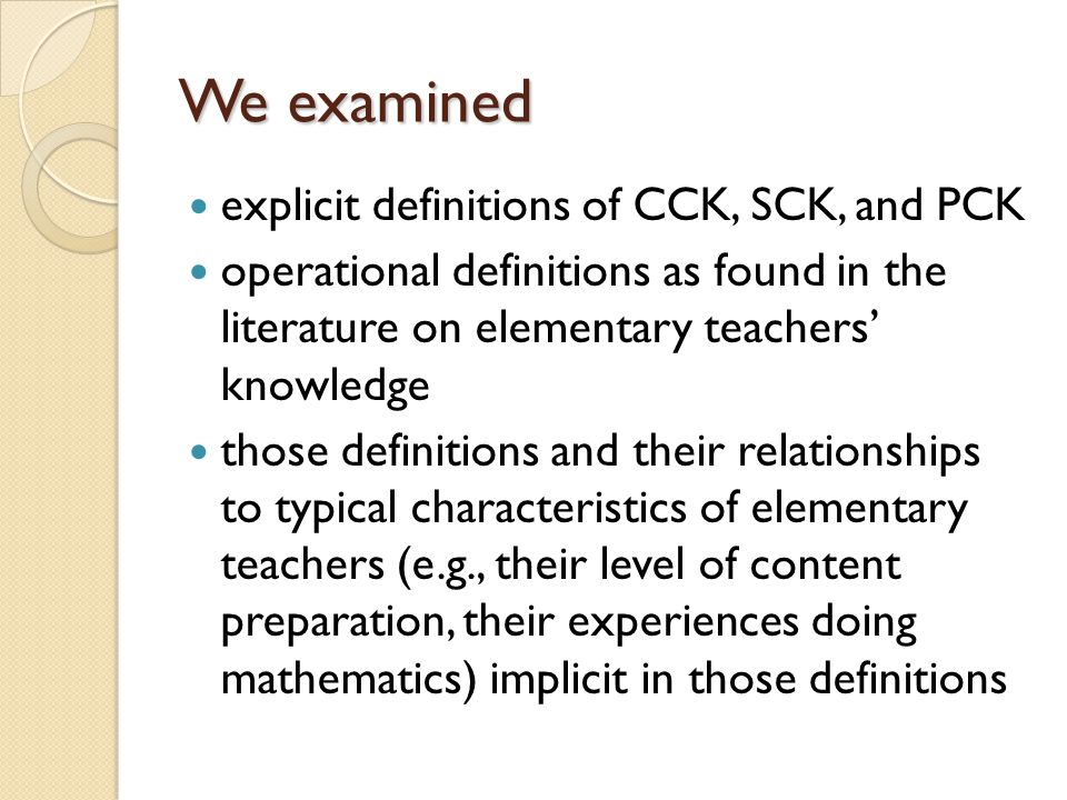 We examined explicit definitions of CCK, SCK, and PCK