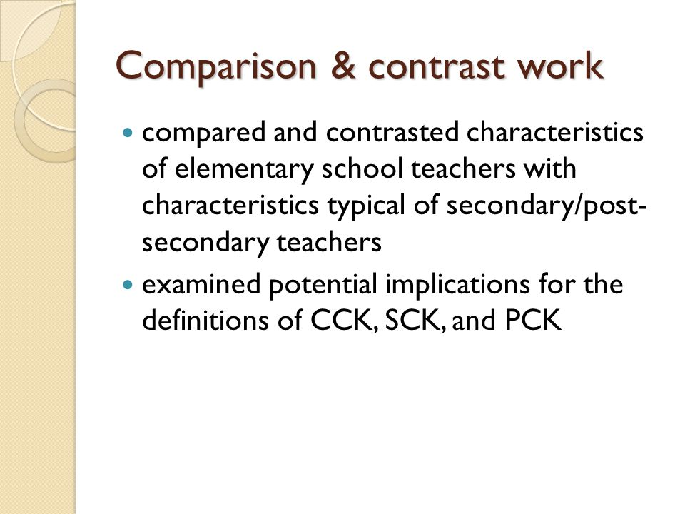 Comparison & contrast work