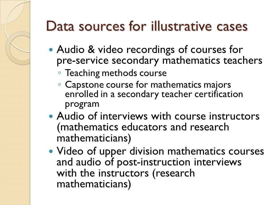 Data sources for illustrative cases