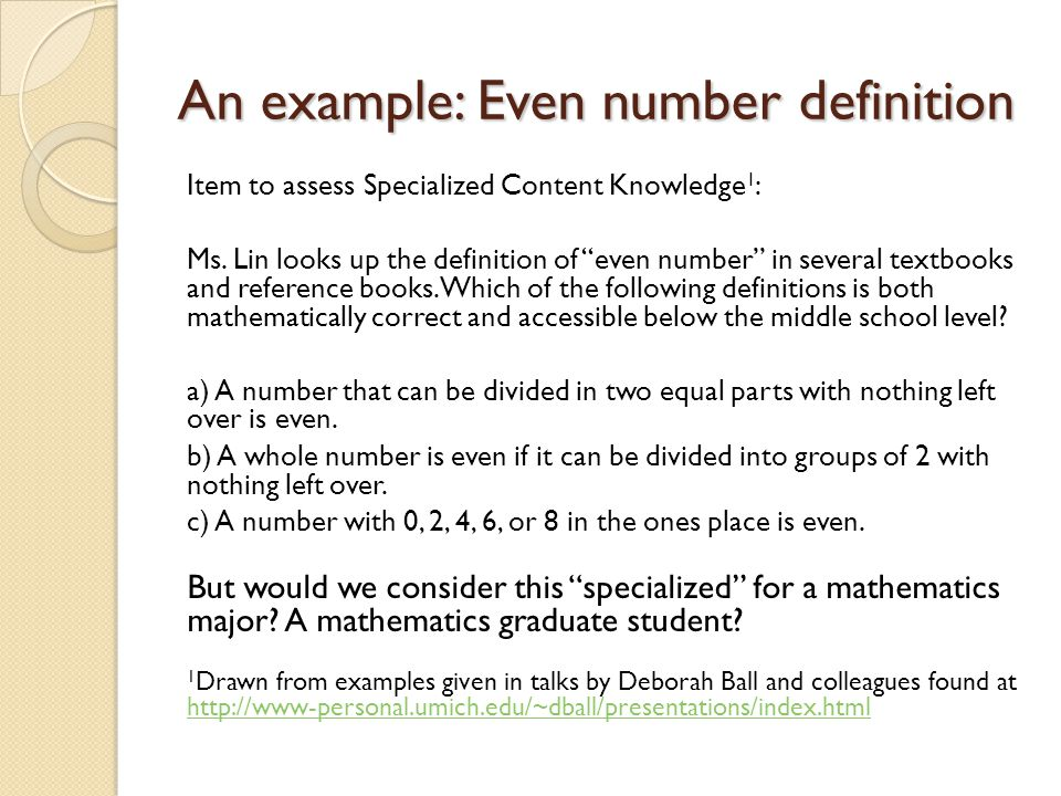 An example: Even number definition