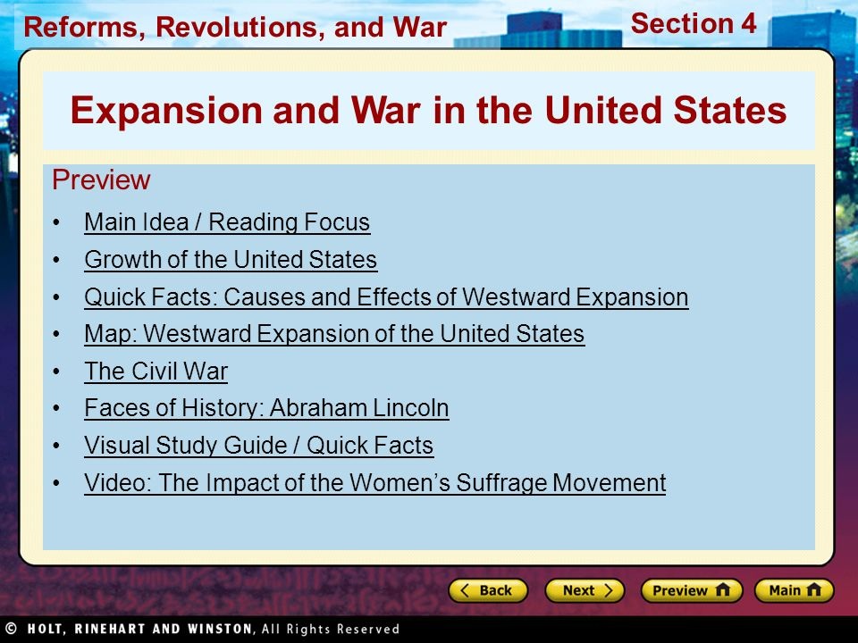 westward expansion effects on the civil war The impact of the great war on youth  racism during wwii and civil war  manifest destiny and westward expansion lesson plan.