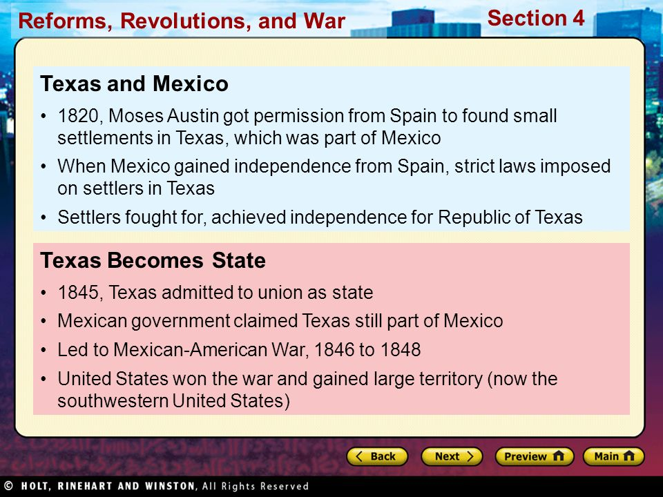 Texas and Mexico Texas Becomes State