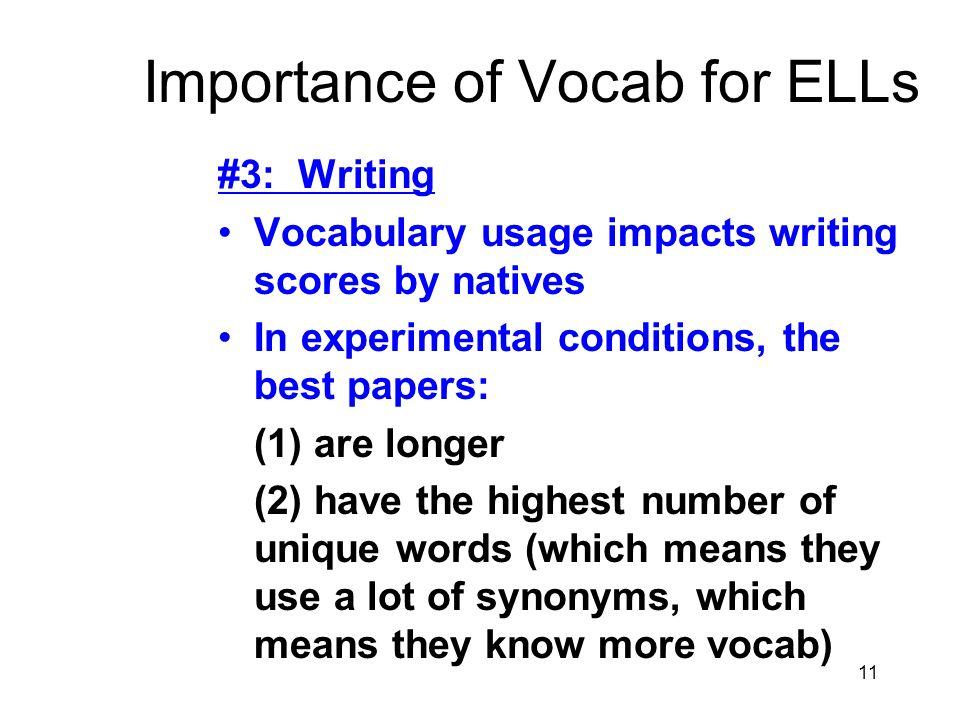 Importance of Vocab for ELLs