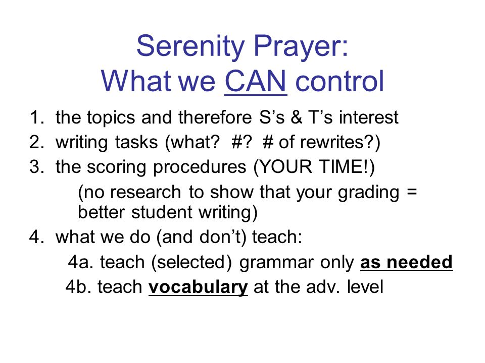 Serenity Prayer: What we CAN control