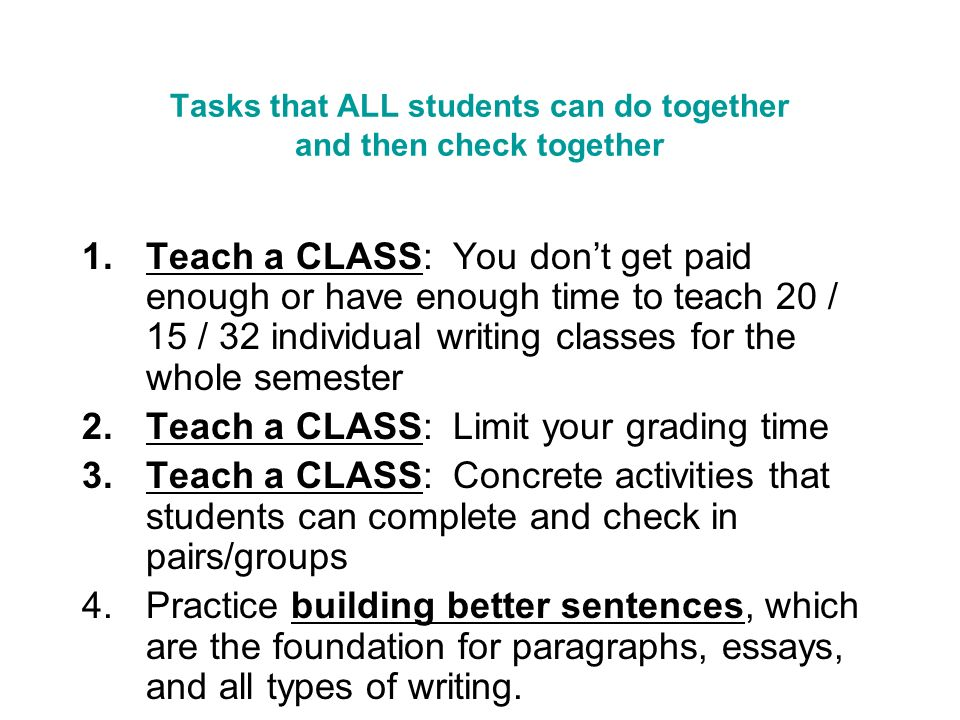 Tasks that ALL students can do together and then check together