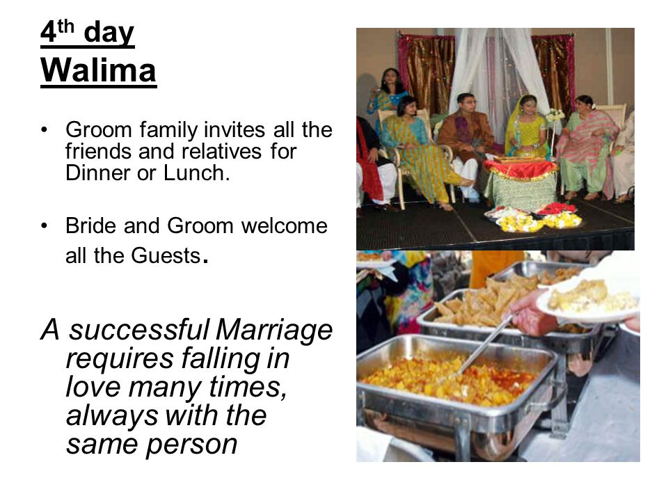 4th day Walima. Groom family invites all the friends and relatives for Dinner or Lunch. Bride and Groom welcome all the Guests.