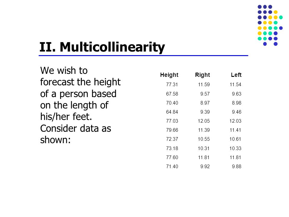 II. Multicollinearity We wish to forecast the height of a person based on the length of his/her feet. Consider data as shown: