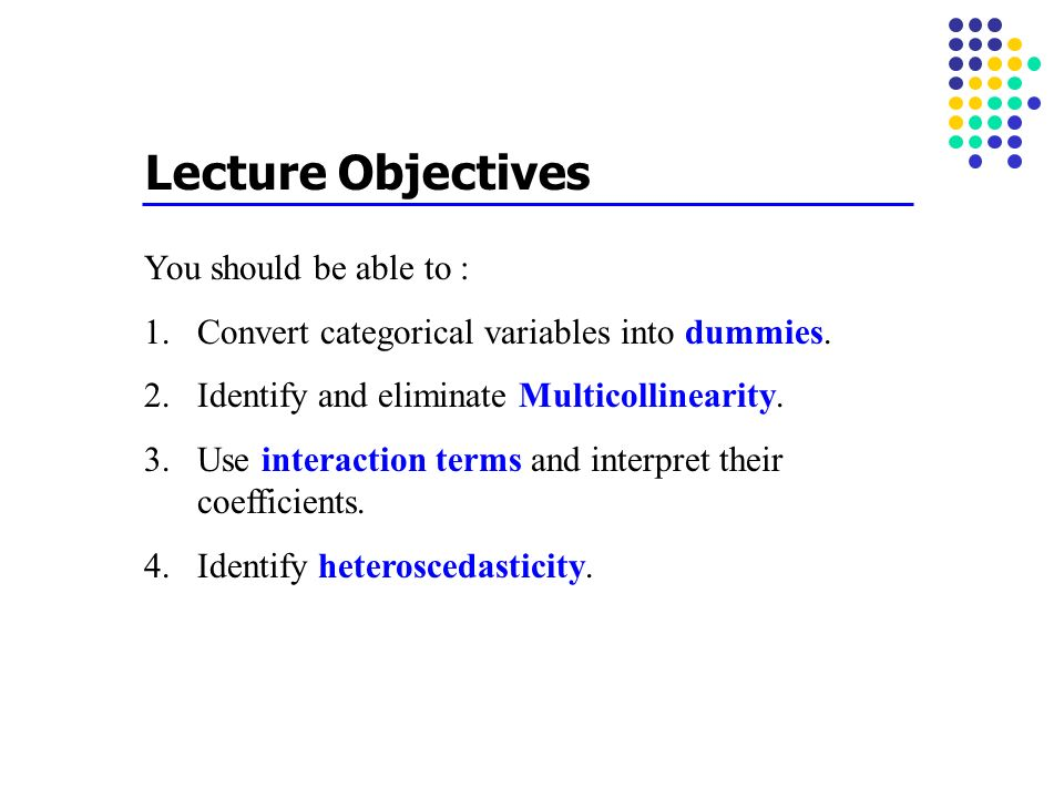Lecture Objectives You should be able to :