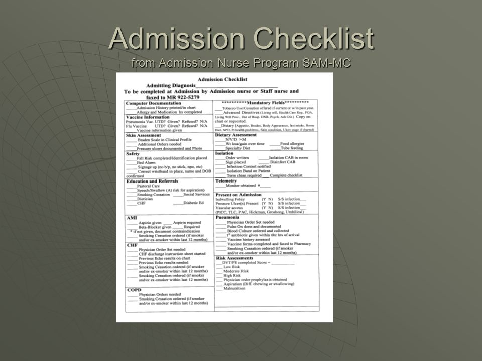 Admission Checklist from Admission Nurse Program SAM-MC