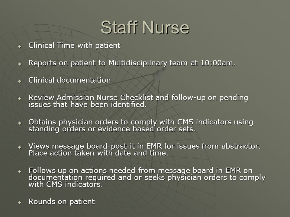 Staff Nurse Clinical Time with patient