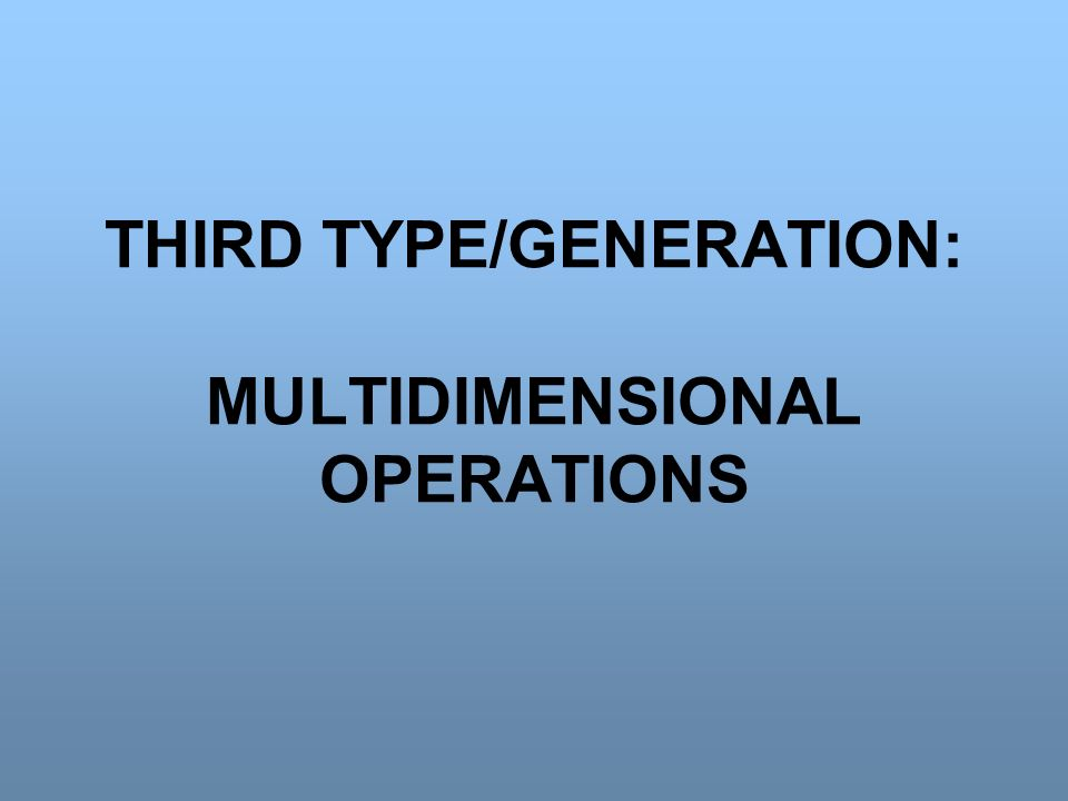 THIRD TYPE/GENERATION: MULTIDIMENSIONAL OPERATIONS