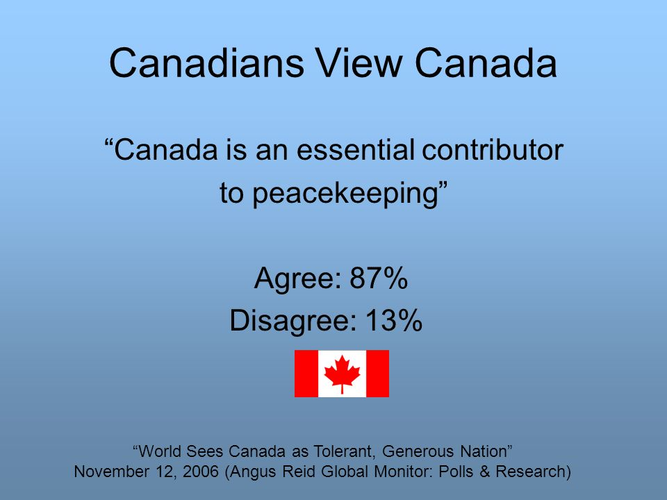 Canadians View Canada Canada is an essential contributor