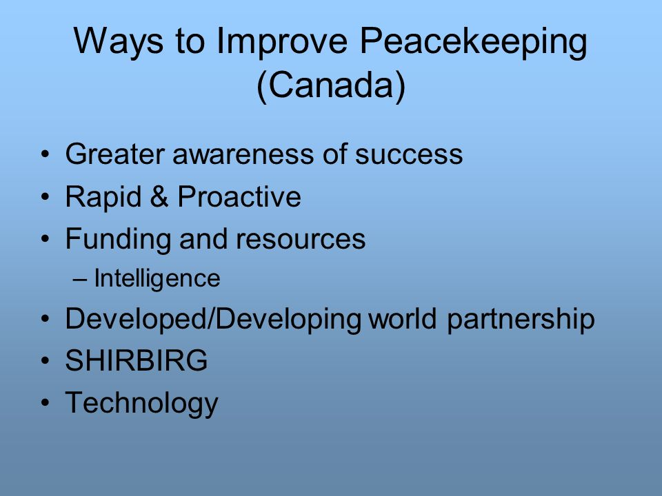 Ways to Improve Peacekeeping (Canada)