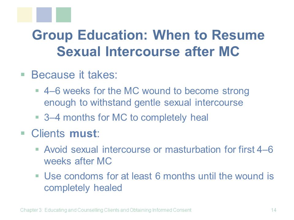 Group Education: When to Resume Sexual Intercourse after MC