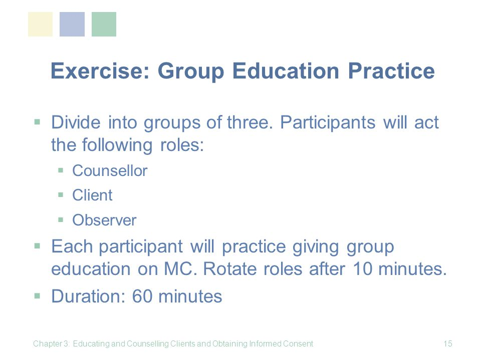 Exercise: Group Education Practice
