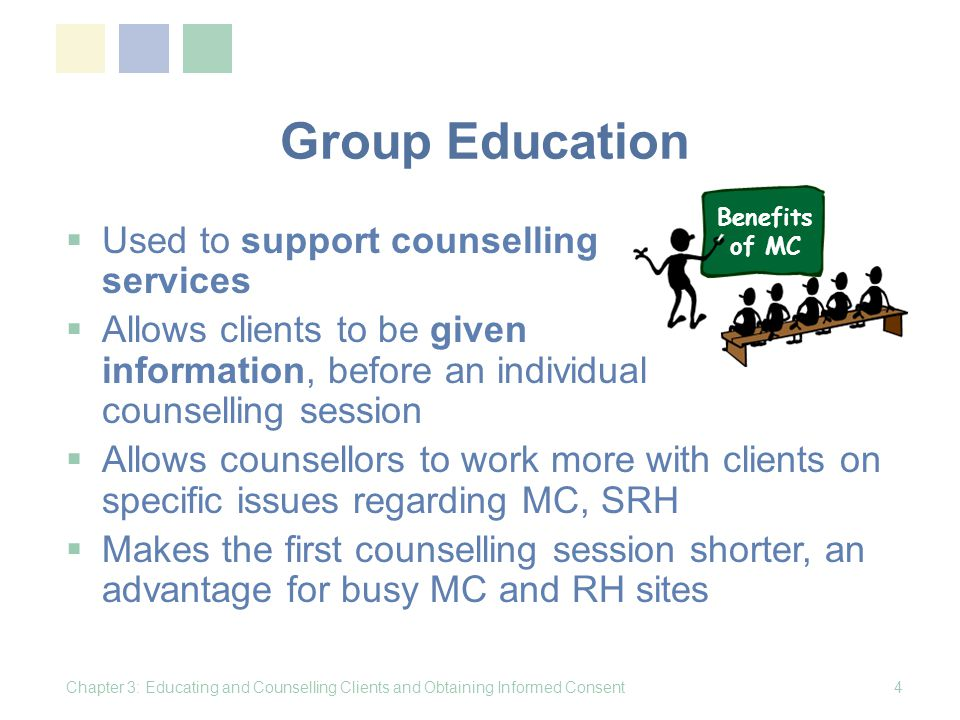 Group Education Used to support counselling services