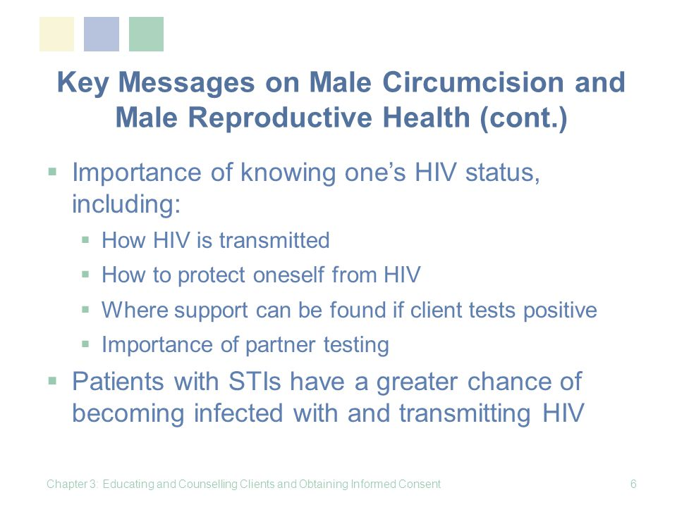 Key Messages on Male Circumcision and Male Reproductive Health (cont.)