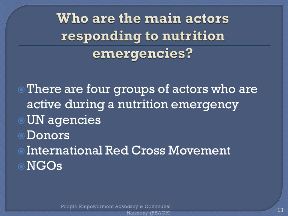 Who are the main actors responding to nutrition emergencies