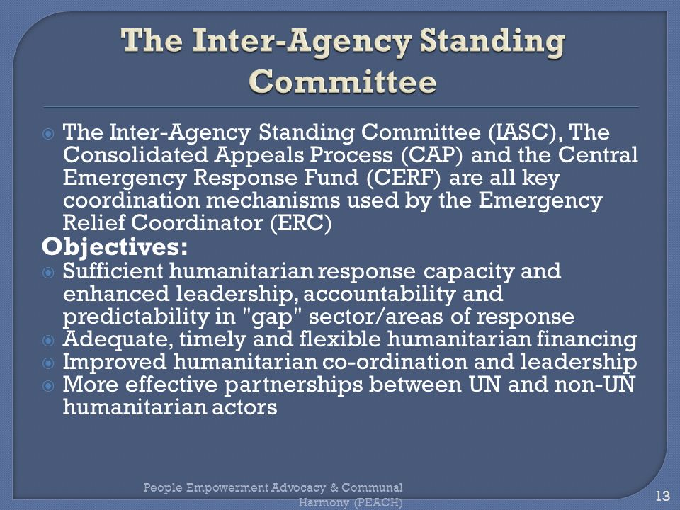 The Inter-Agency Standing Committee