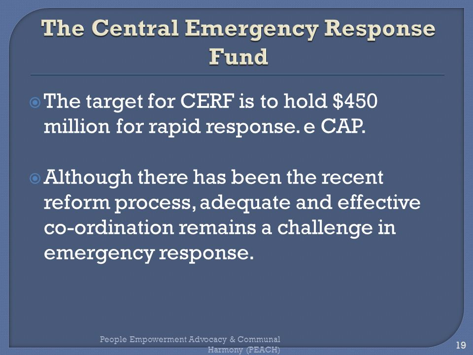 The Central Emergency Response Fund