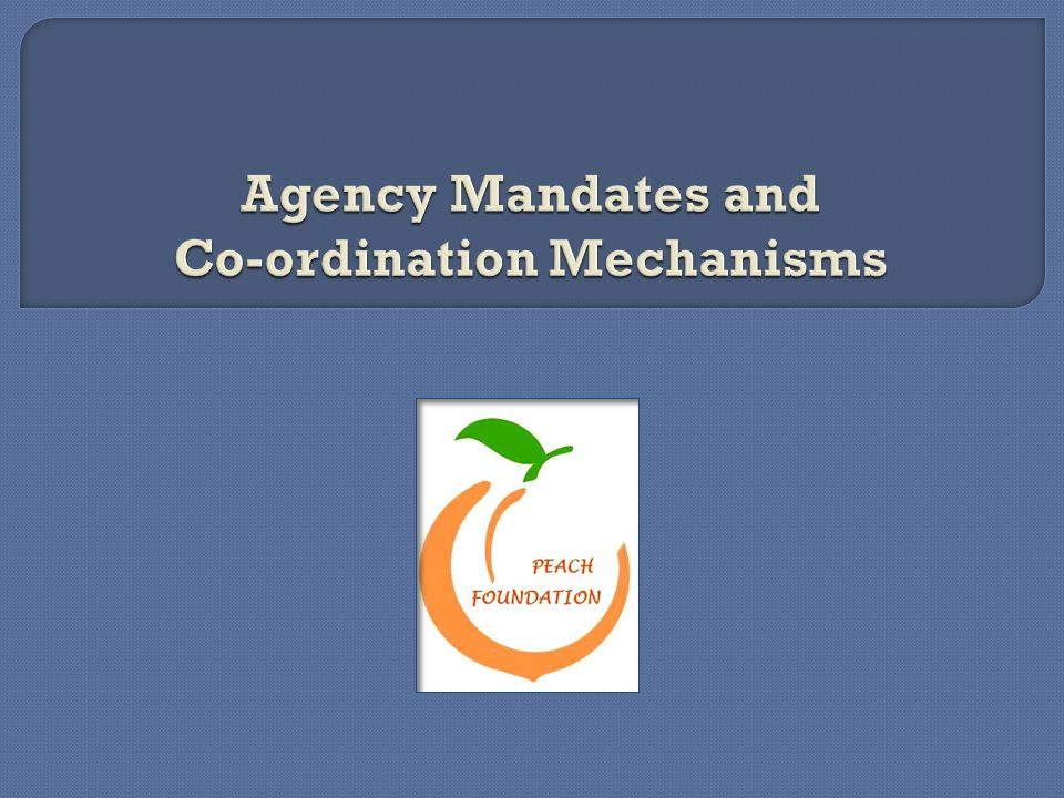 Agency Mandates and Co-ordination Mechanisms