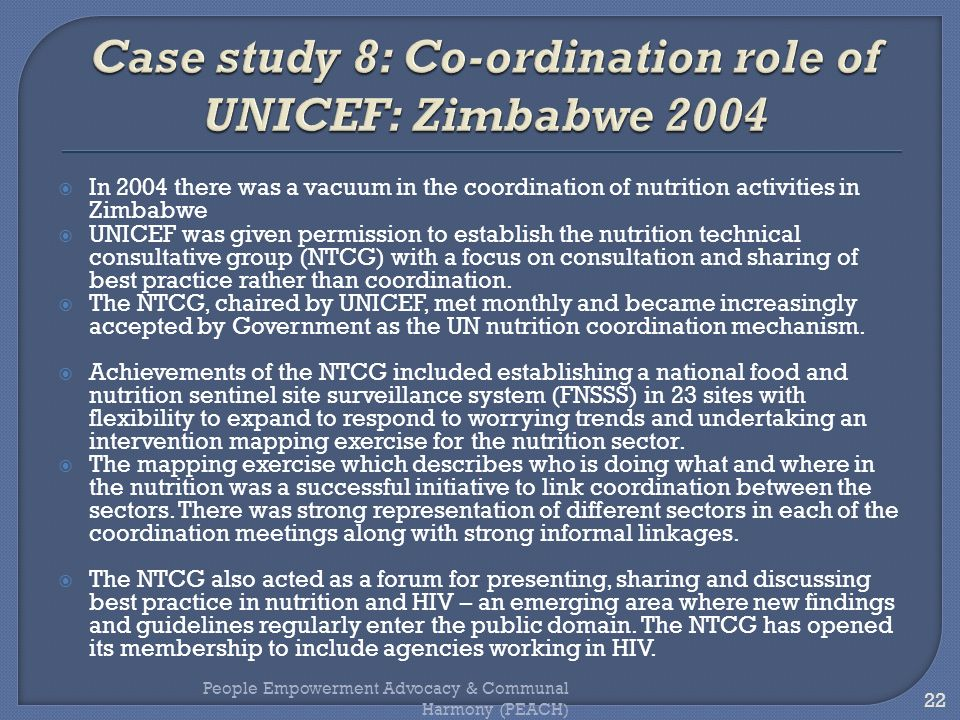 Case study 8: Co-ordination role of UNICEF: Zimbabwe 2004