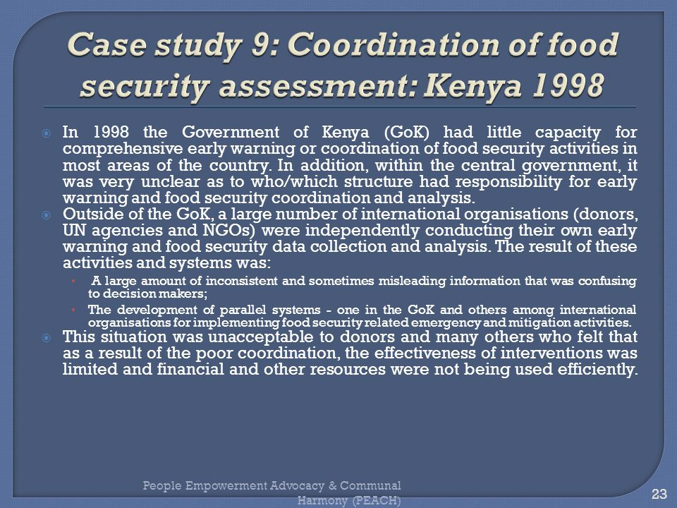 Case study 9: Coordination of food security assessment: Kenya 1998