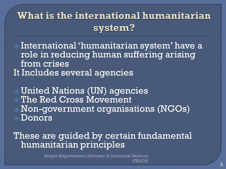 What is the international humanitarian system