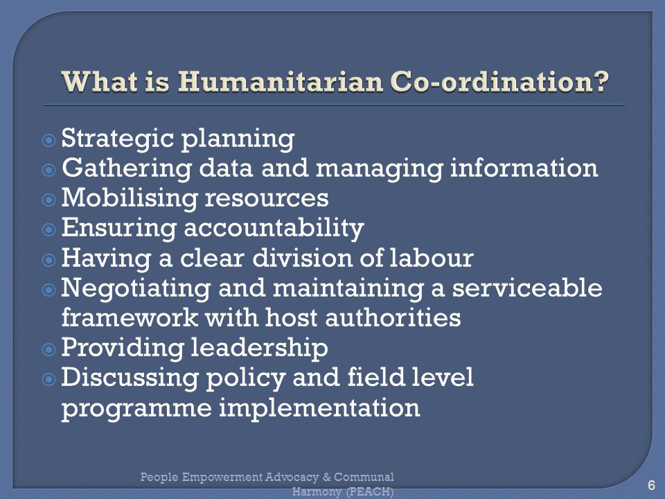 What is Humanitarian Co-ordination