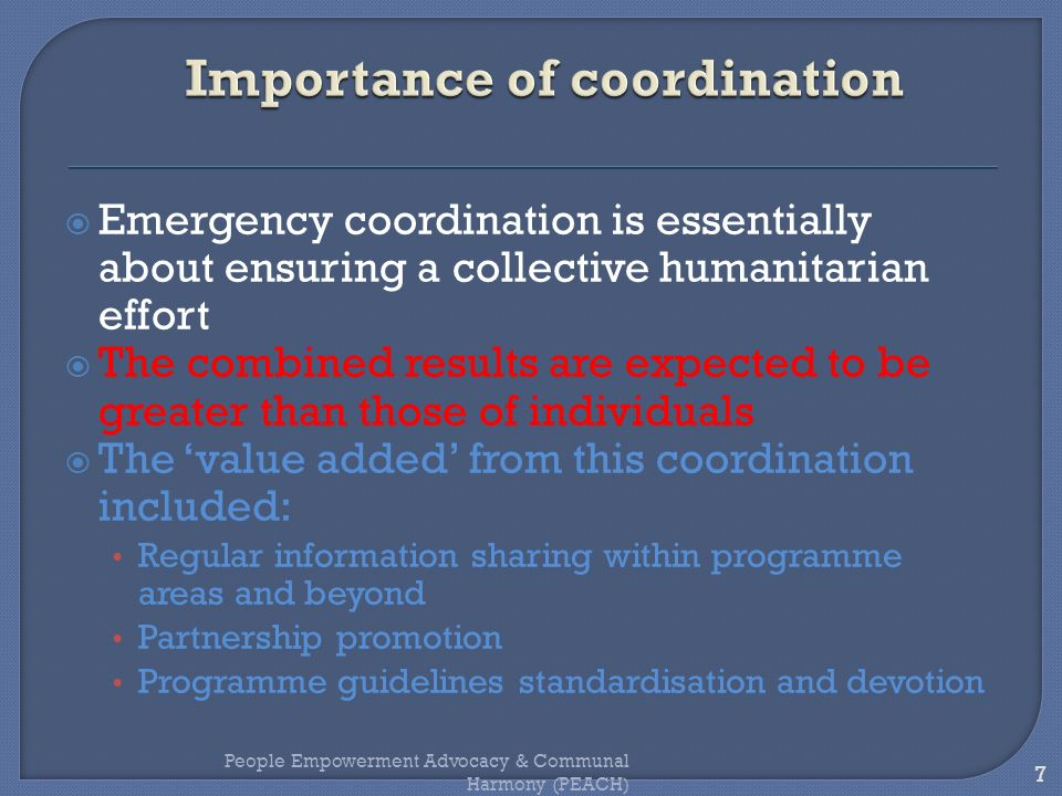 Importance of coordination