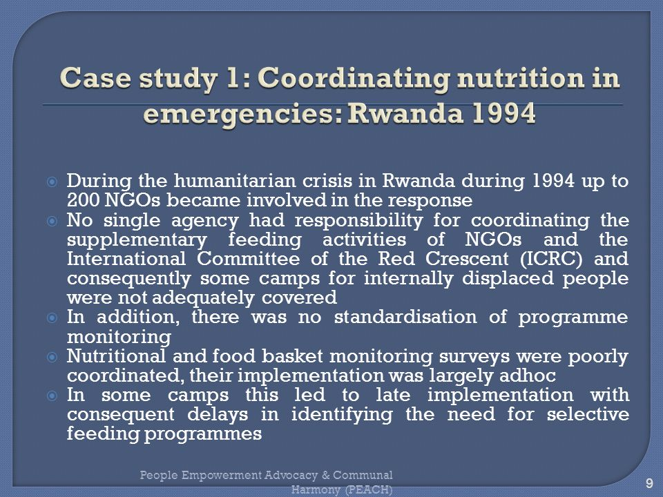 Case study 1: Coordinating nutrition in emergencies: Rwanda 1994