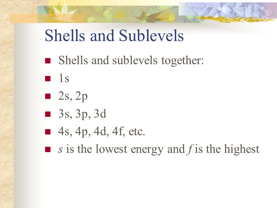 Shells and Sublevels Shells and sublevels together: 1s 2s, 2p