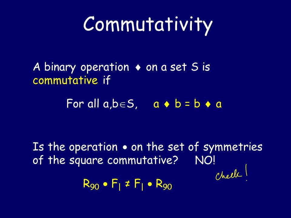 Commutativity A binary operation  on a set S is commutative if