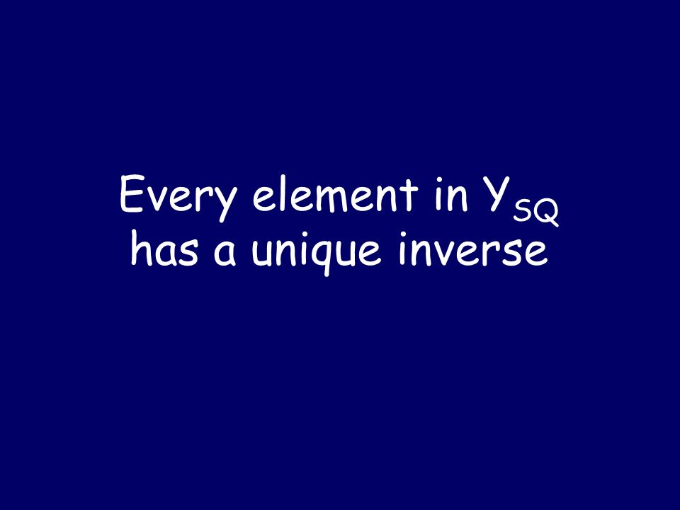 Every element in YSQ has a unique inverse