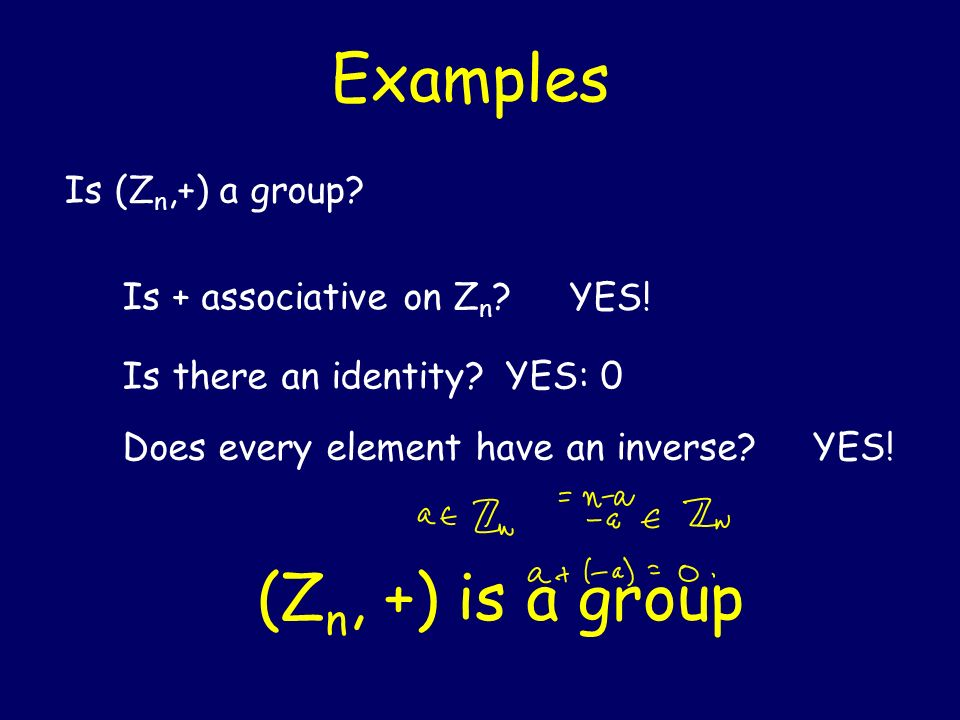 Examples (Zn, +) is a group Is (Zn,+) a group Is + associative on Zn