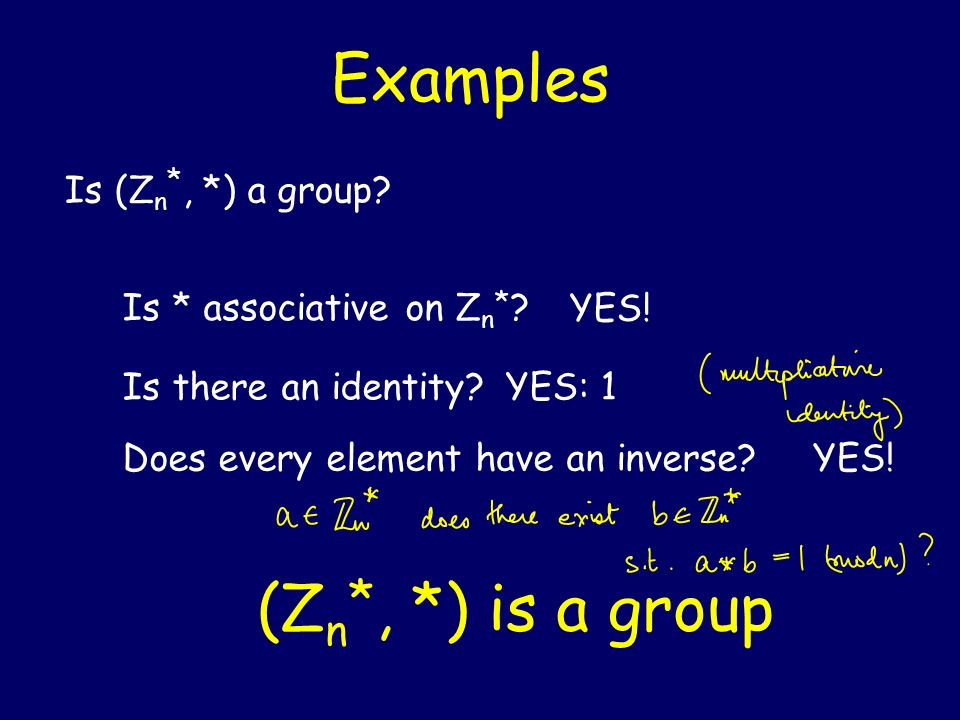 Examples (Zn*, *) is a group Is (Zn*, *) a group