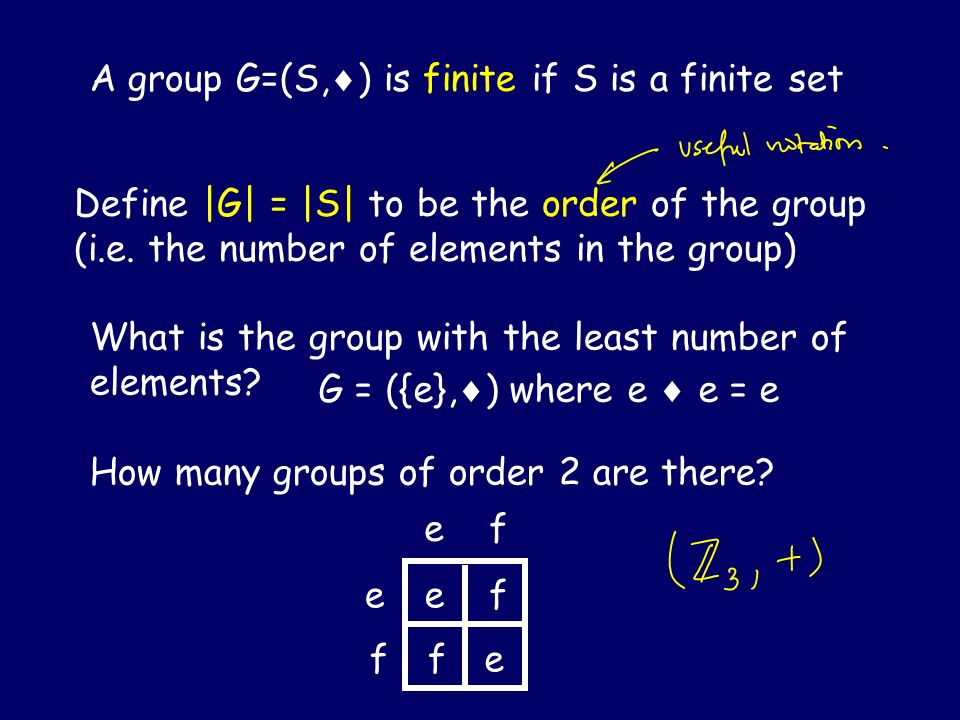 A group G=(S,) is finite if S is a finite set