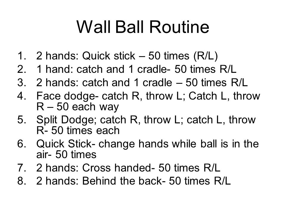 Wall Ball Routine 2 hands: Quick stick – 50 times (R/L)