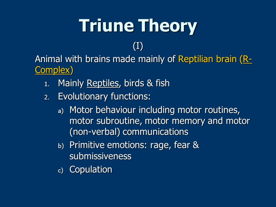 Triune Theory (I) Animal with brains made mainly of Reptilian brain (R-Complex) Mainly Reptiles, birds & fish.