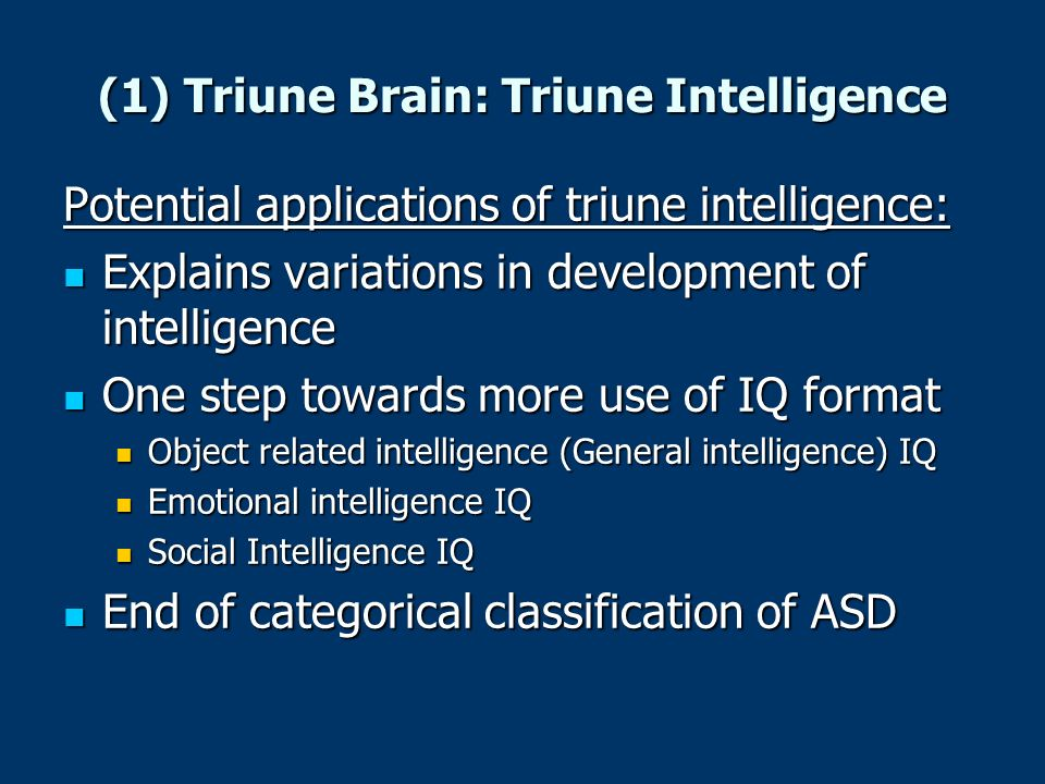 (1) Triune Brain: Triune Intelligence