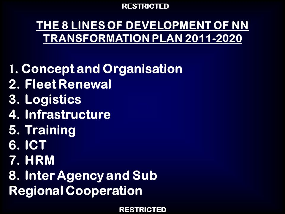 THE 8 LINES OF DEVELOPMENT OF NN TRANSFORMATION PLAN