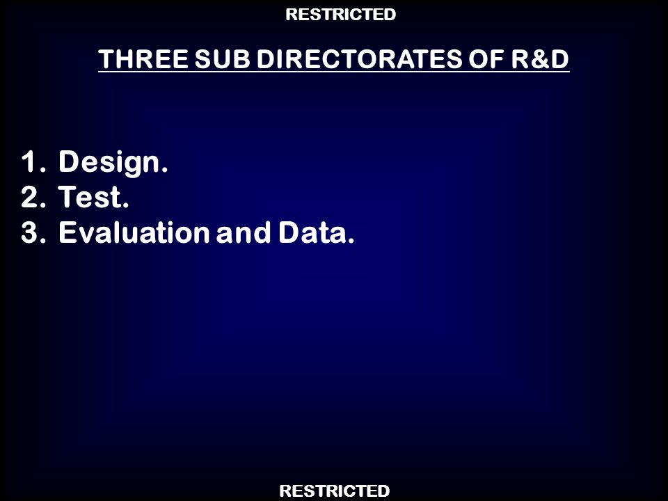THREE SUB DIRECTORATES OF R&D