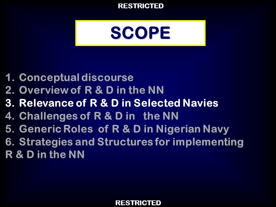 SCOPE Conceptual discourse Overview of R & D in the NN