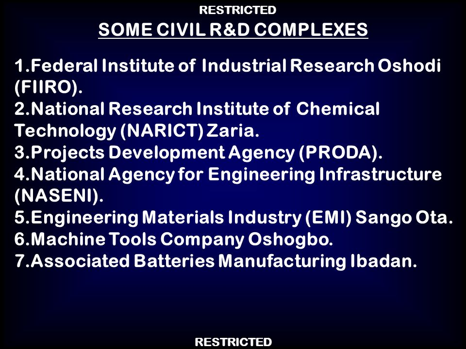 SOME CIVIL R&D COMPLEXES